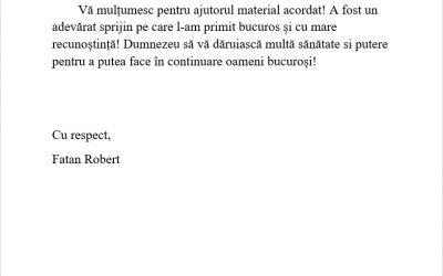 """Scrisori de mulțumire """"Brațele Părintești"""" – Sibiu"""