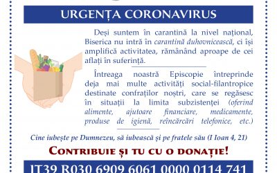 URGENȚA CORONAVIRUS | Episcopia Ortodoxă Română a Italiei – Fondul Solidaritatea